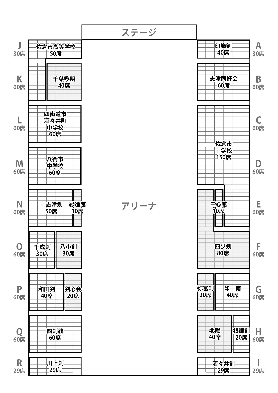 佐倉剣道連盟錬成大会 観客席割振および駐車場について
